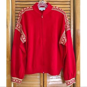 St. John Vintage Red and Gold Zip Sweater Jacket